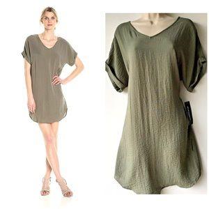 Sharagano Tunic Swing Shirt Dress Rolled Sleeve